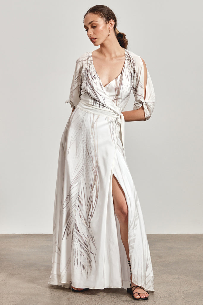 'MAEMAE' WRAP MAXI DRESS, WHITE DHINAWAN PRINT - ARRIVING MARCH