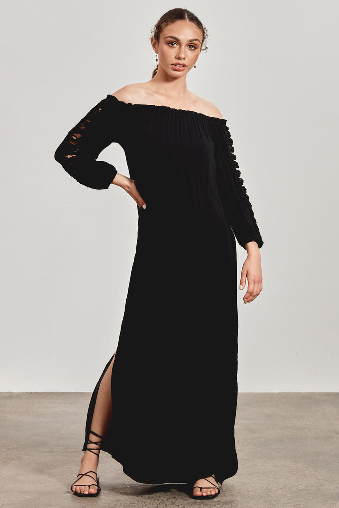 'NERIDA' MAXI DRESS, BLACK