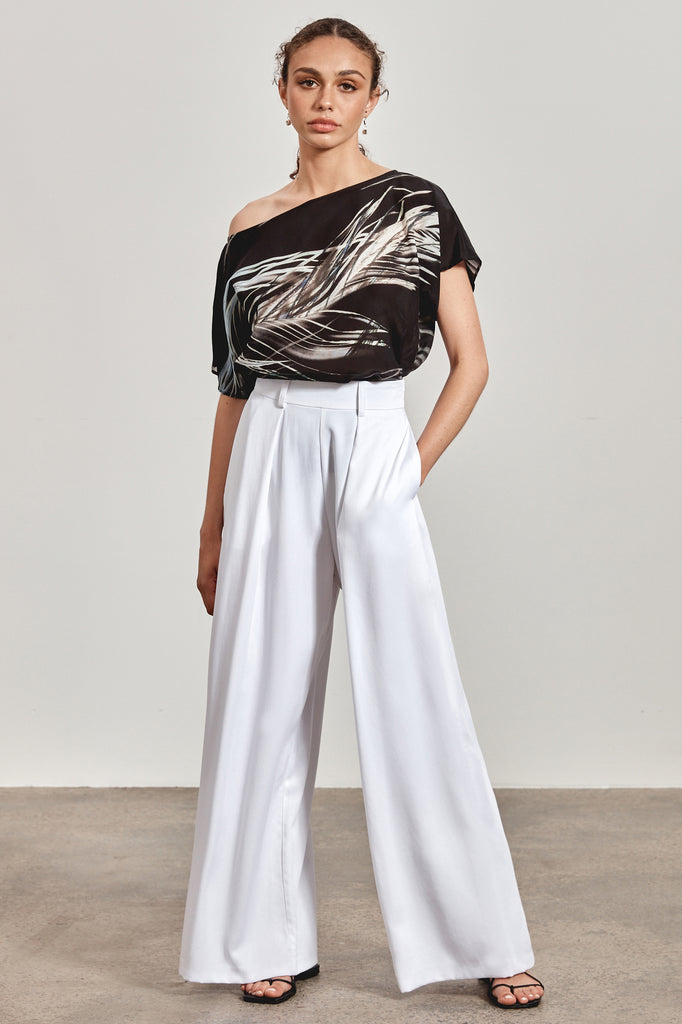 'LENA' WIDE-LEG PANT, WHITE