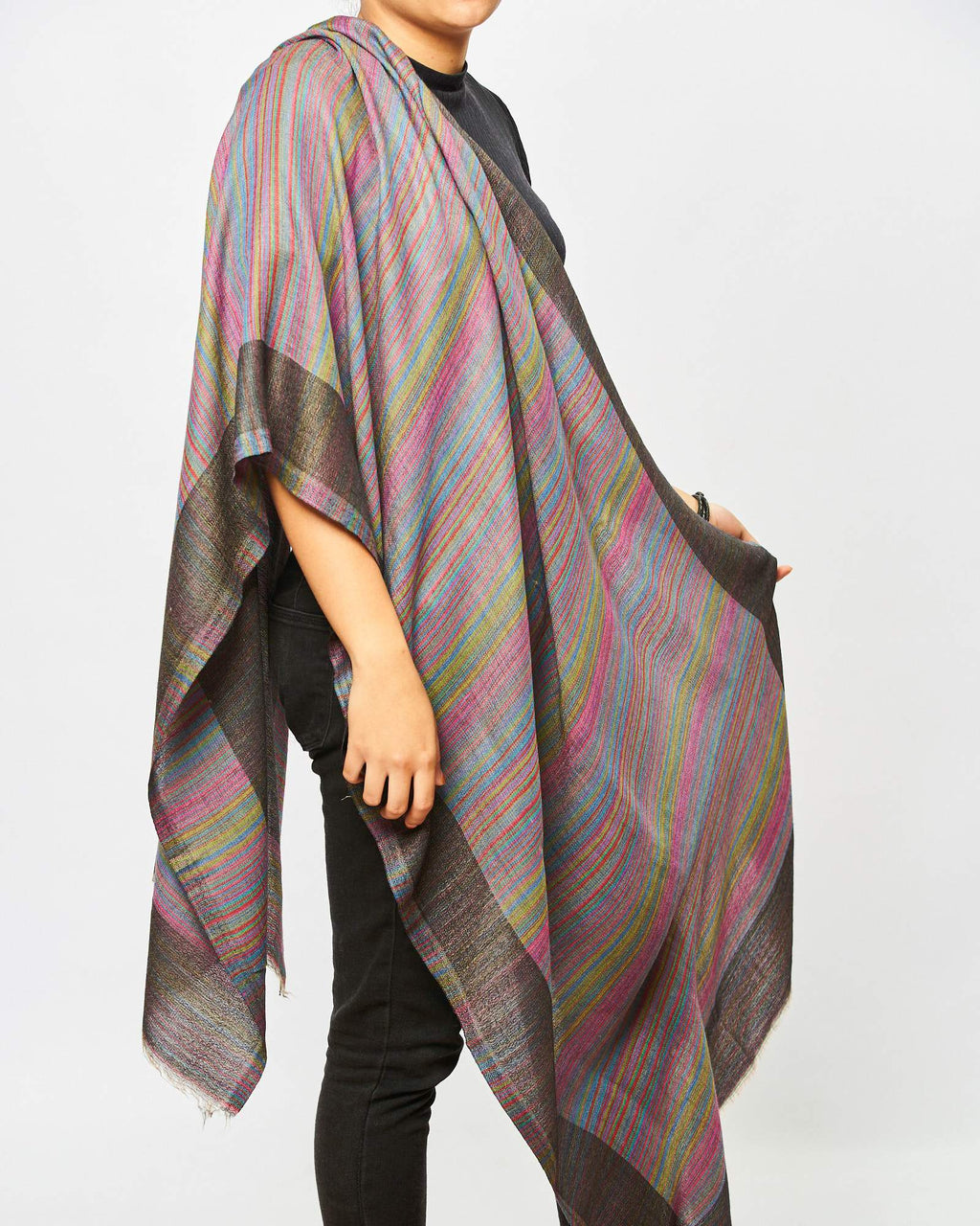 Cashmere Scarf - Multi Stripe Purple