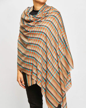 Cashmere Scarf - Small Check Orange/Brown/Turquiose