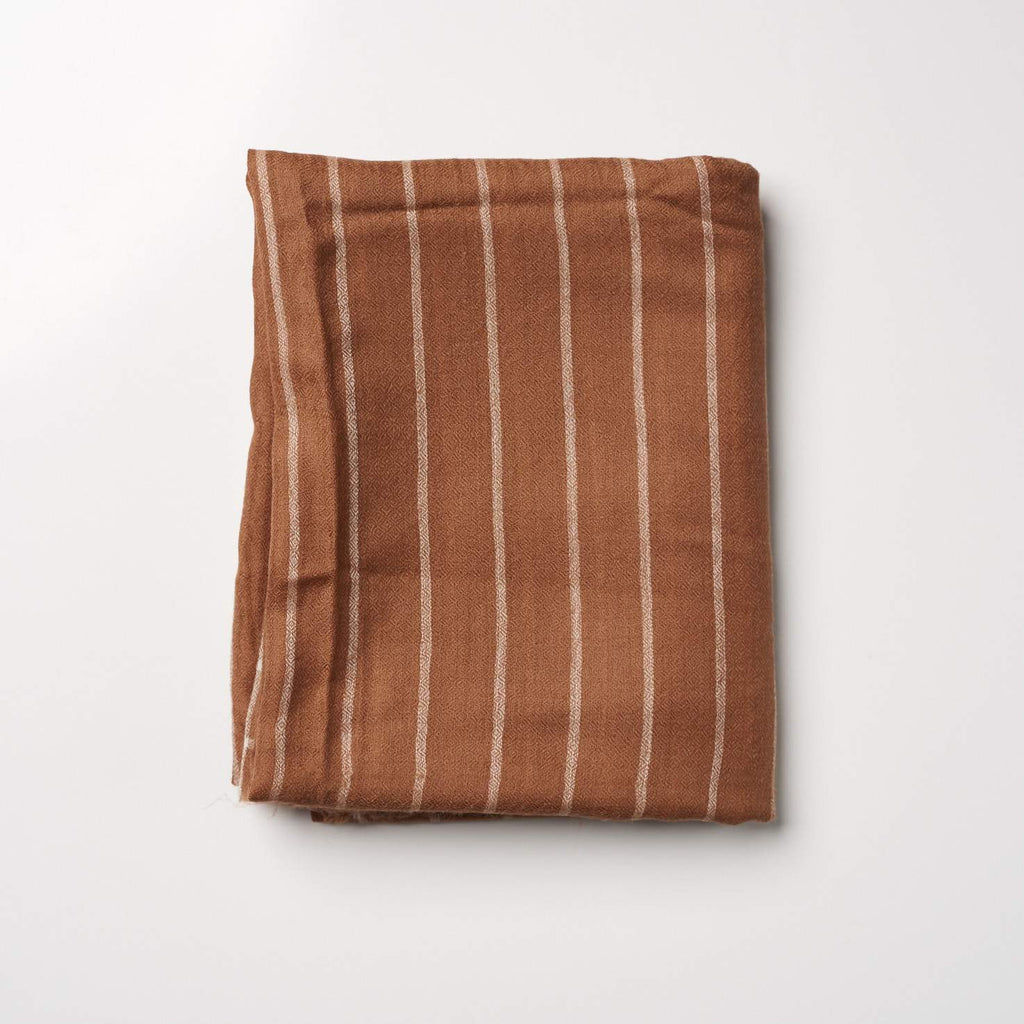 Cashmere Scarf Patterned - Brown/White Stripe