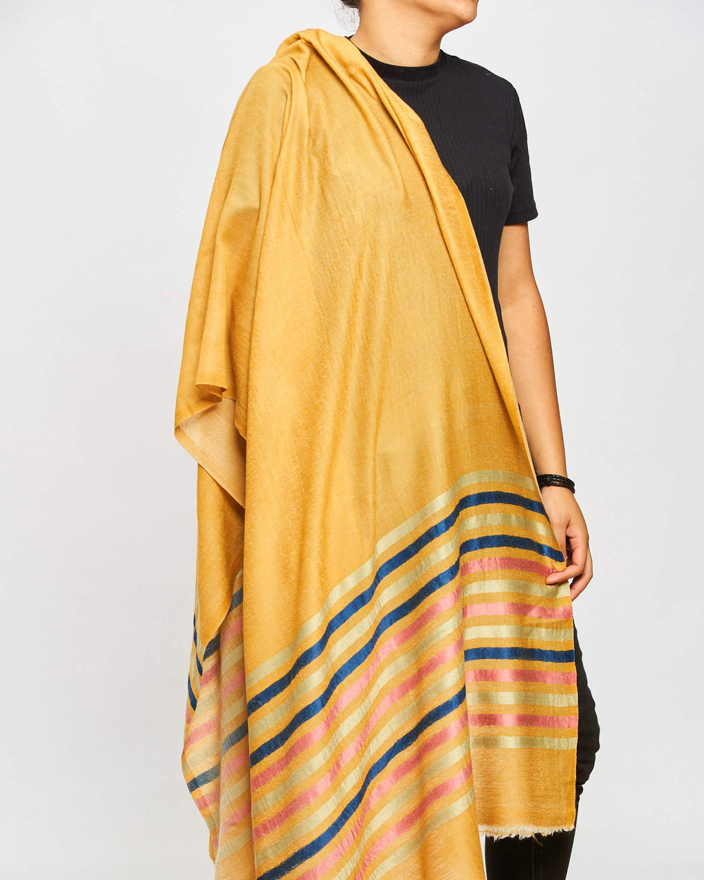 Cashmere Scarf Patterned - Multi/Mustard/Striped Border