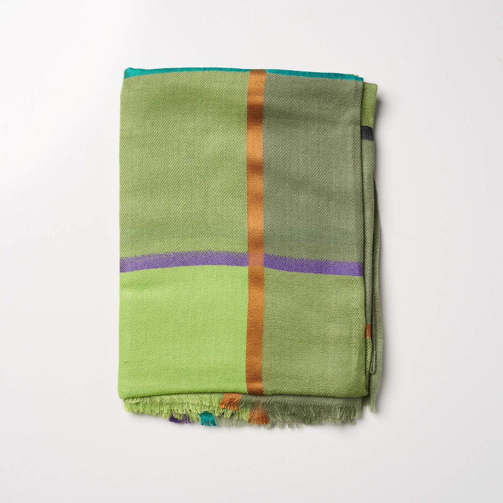 Cashmere Scarf - Large Check Green