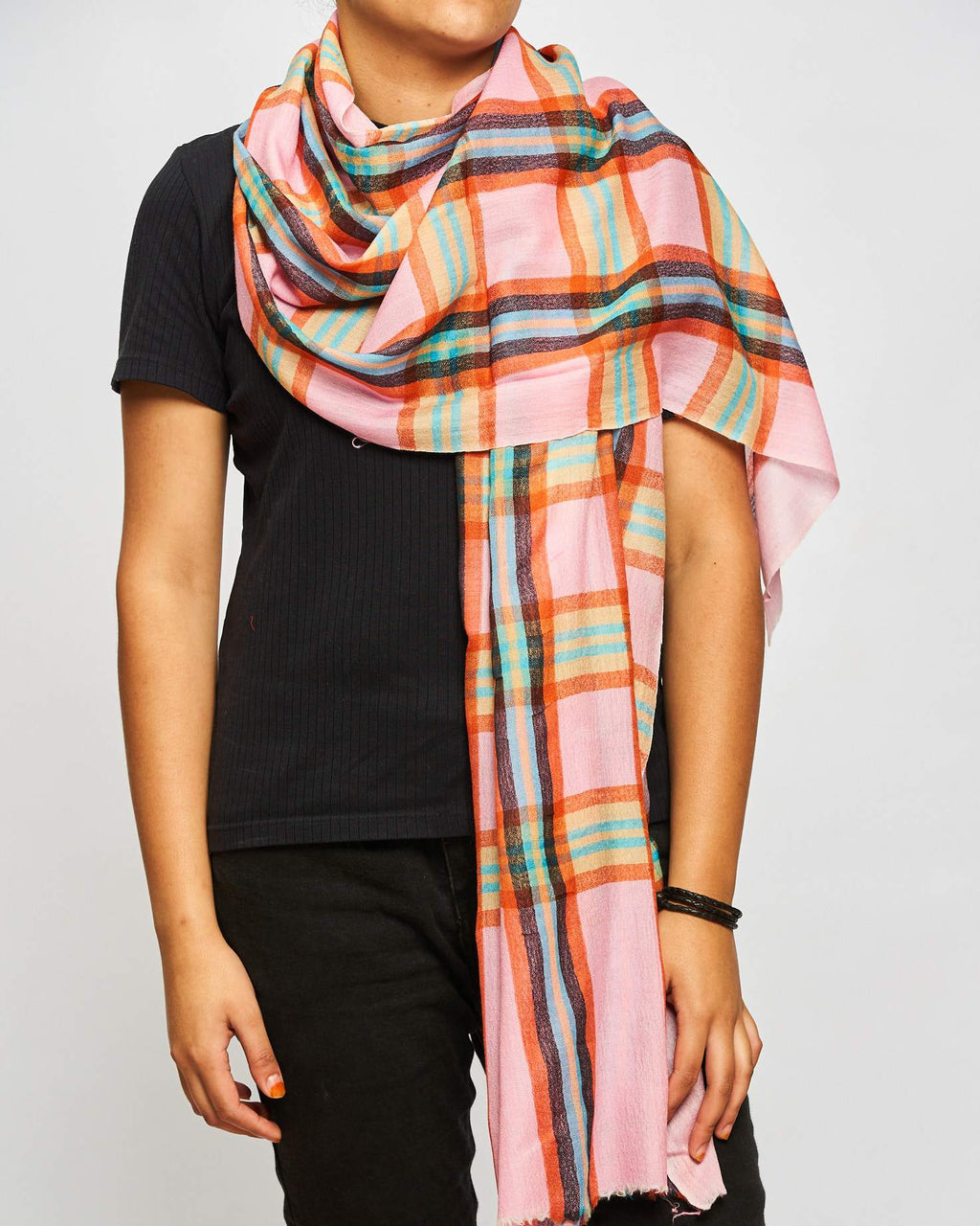 Cashmere - Large Check Pink/Orange