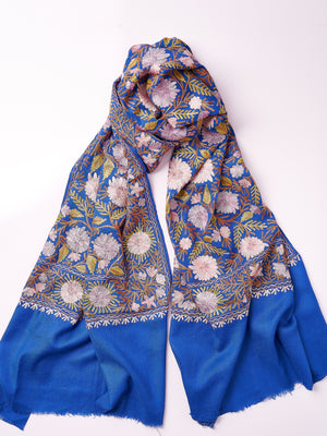 Embroidered Shawl - Azure
