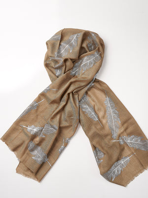 Printed Cashmere Scarf - Light Brown