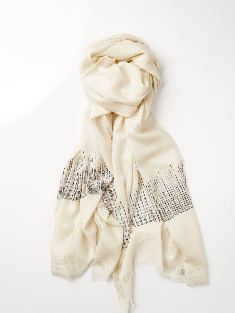 Lightly Beaded Cashmere Shawl - Cream