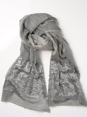 Sequined Cashmere Shawl - Dove