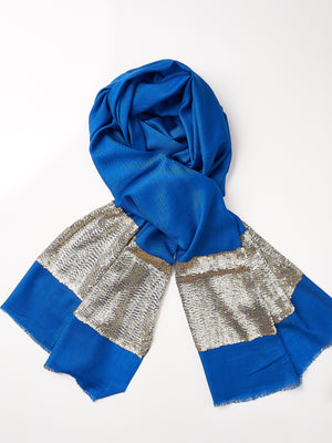 Sequined Cashmere Shawl - Cobalt