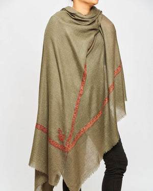 Cashmere Scarf - Khaki/Orange Border