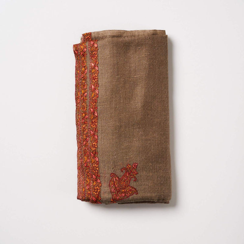 Cashmere Scarf - Light Brown/Orange-Pink Border