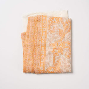 Cashmere Scarf Patterned - Apricot/Cream