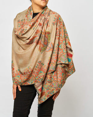 Cashmere Scarf Patterned - Brown Floral/Striped border
