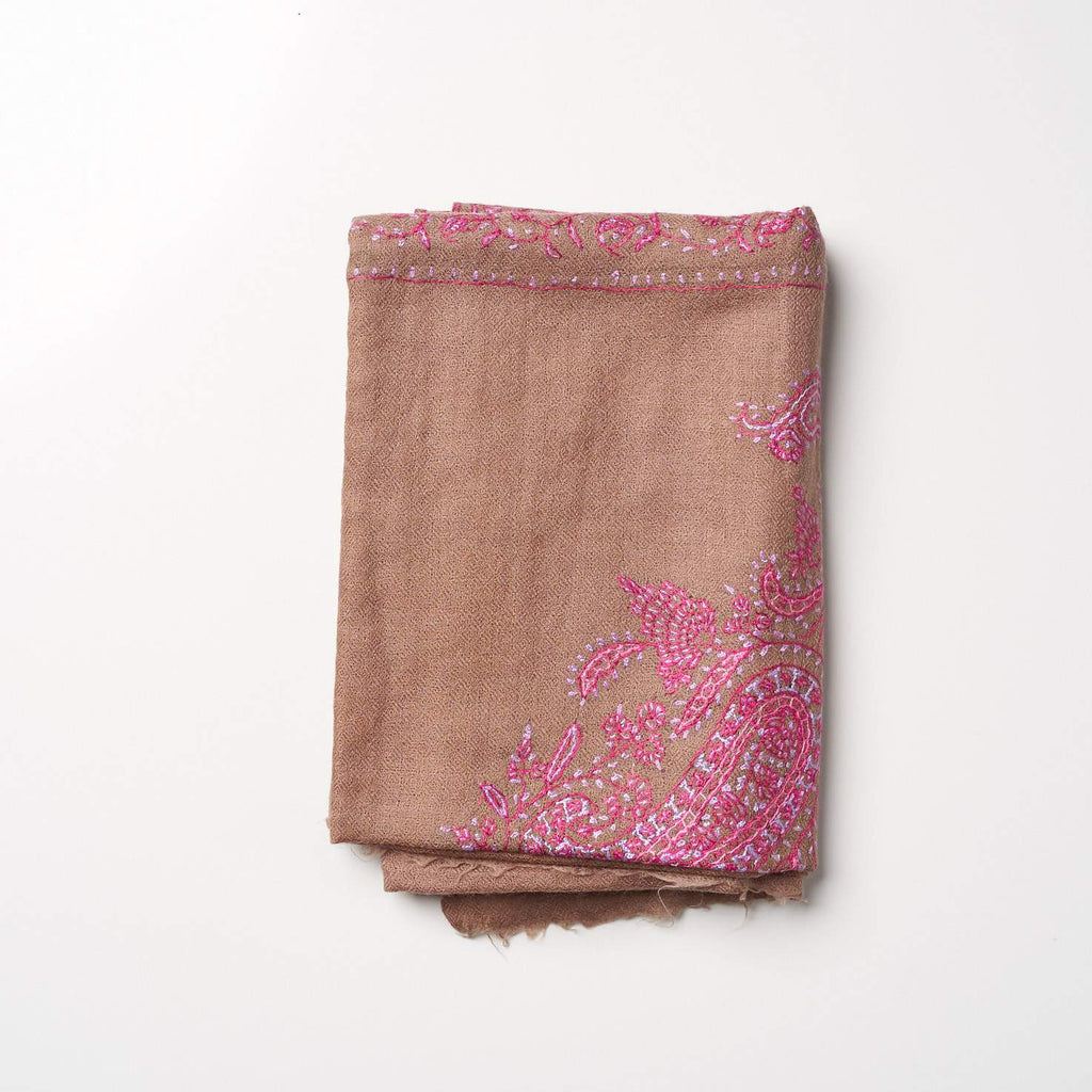 Cashmere Hand Embroidered Scarf - Brown/Pink