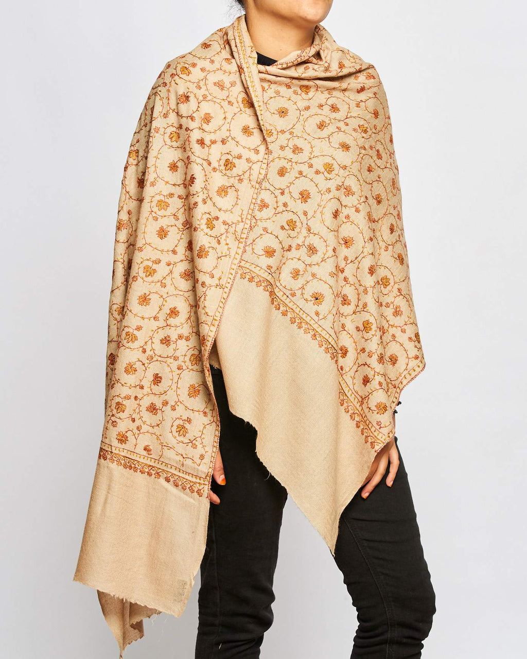 Cashmere Hand Embroidered Scarf - Beige/Orange