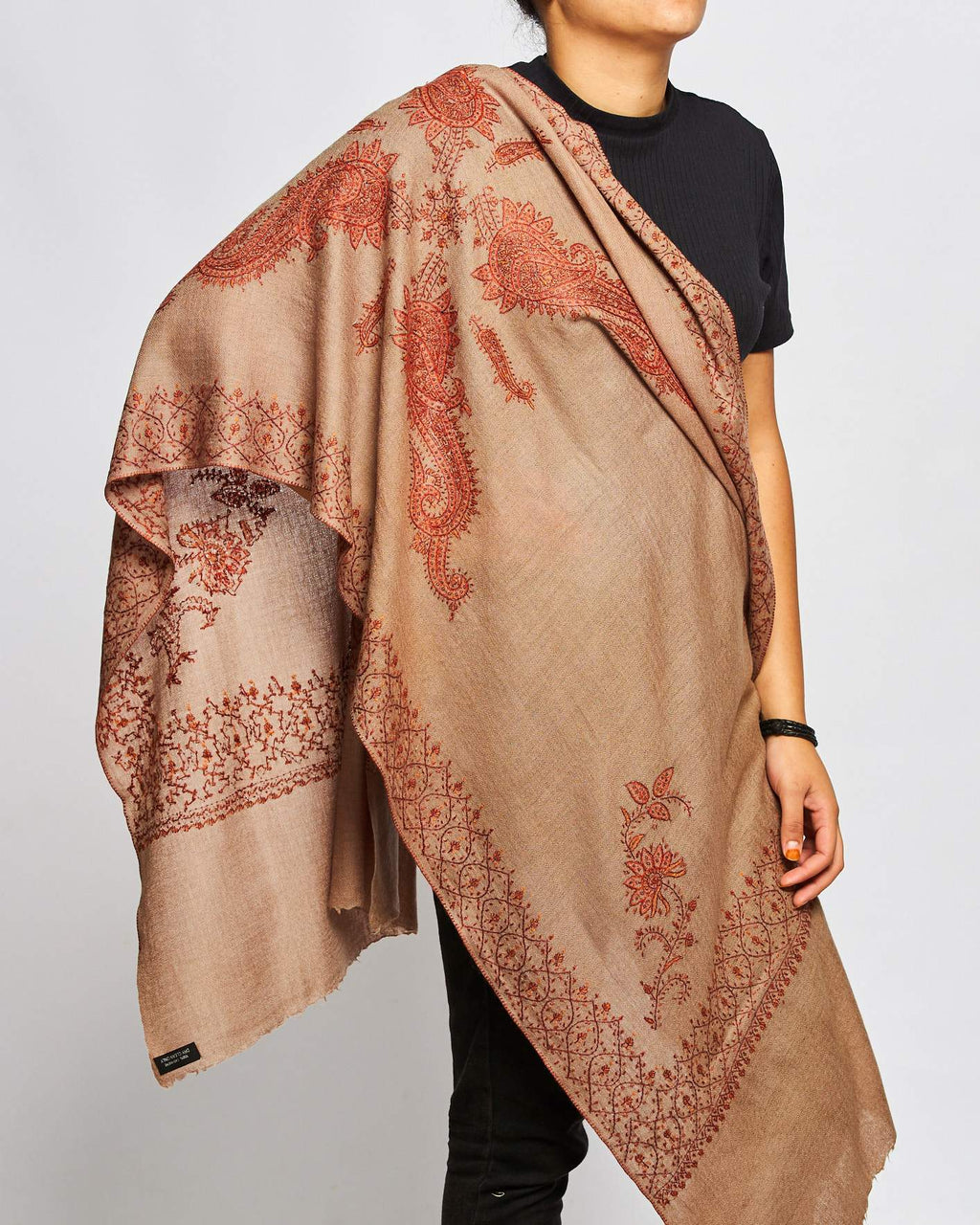 Cashmere Hand Embroidered Scarf - Brown/Orange