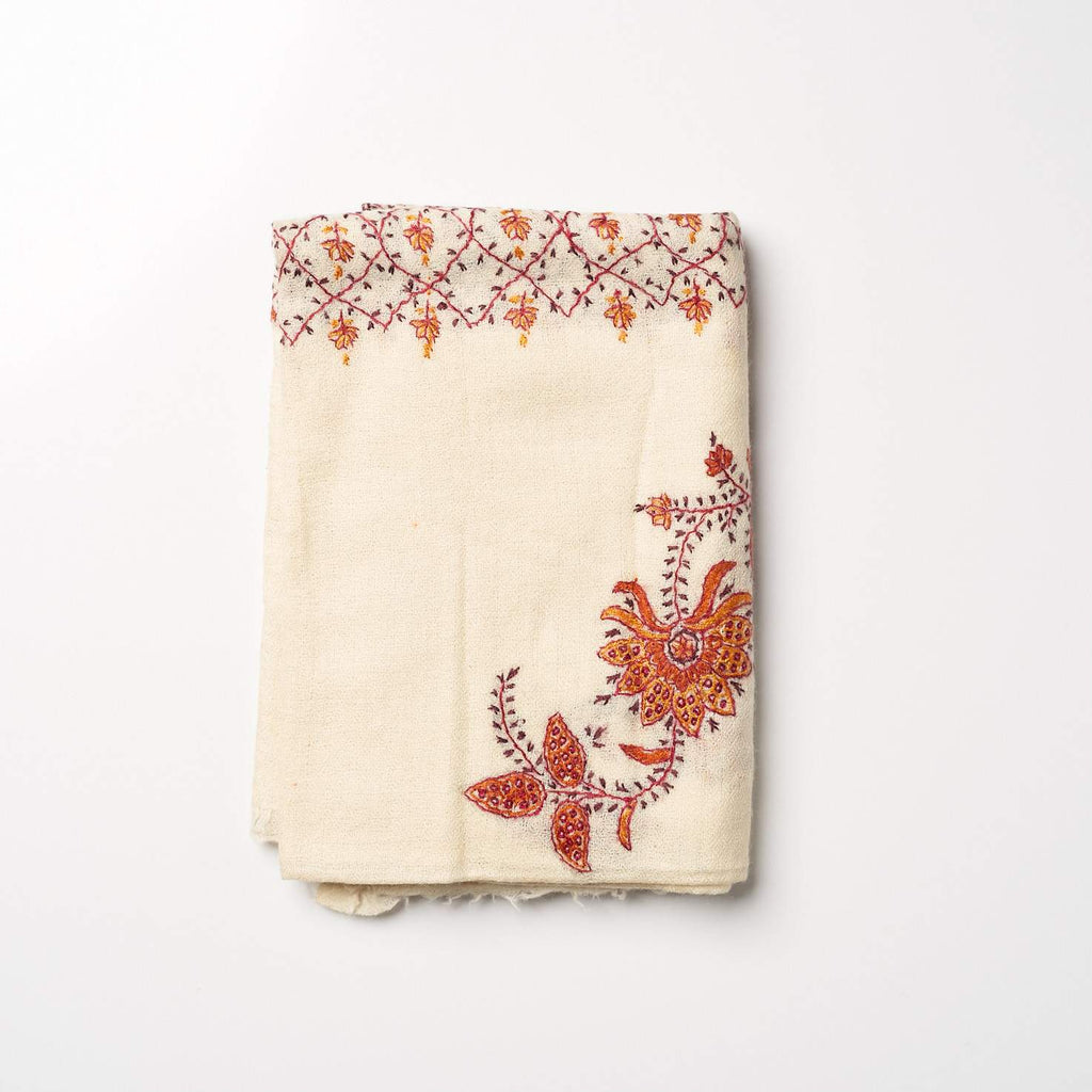 Cashmere Hand Embroidered Scarf - Cream/Orange