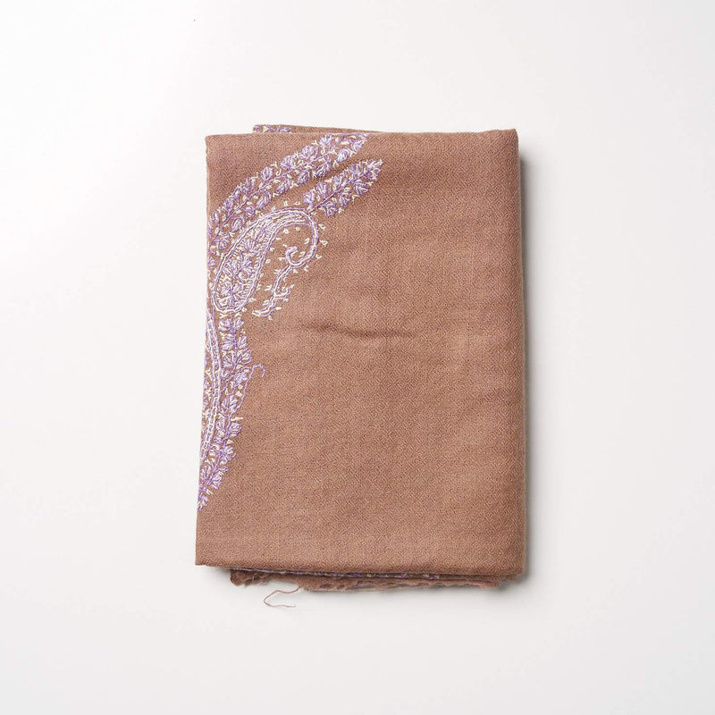 Cashmere Hand Embroidered Scarf - Brown/Lilac