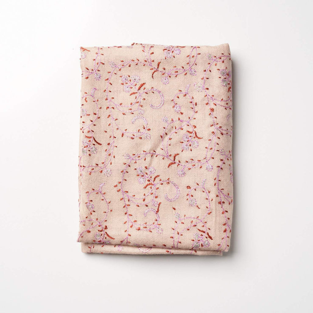 Cashmere Hand Embroidered Scarf - Lilac/Copper