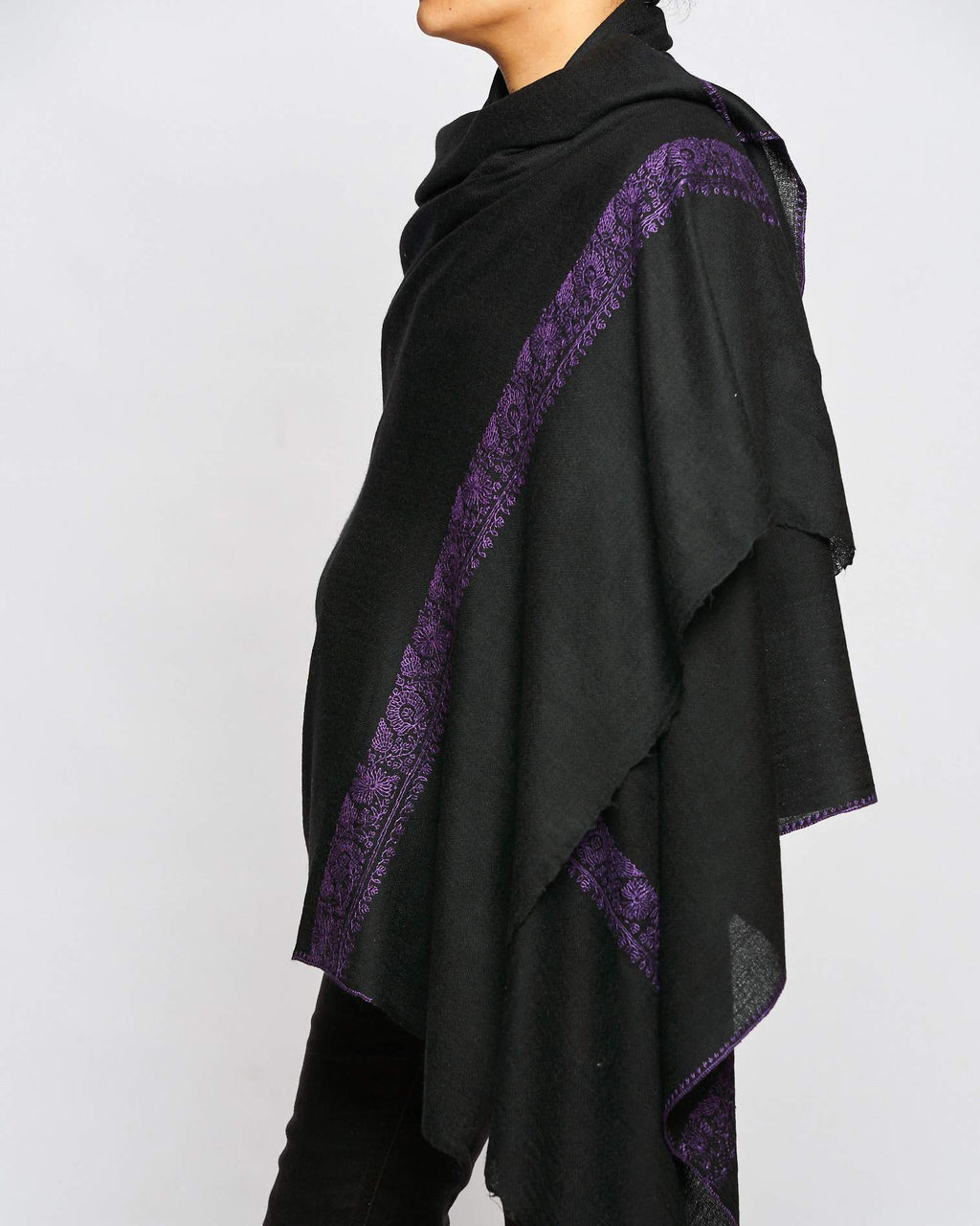 Fine Cashmere Scarf - Black/Purple Border