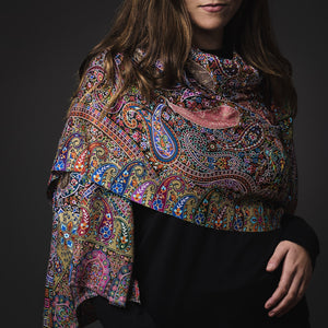 Digital Print Scarf- Blue/Olive/Black