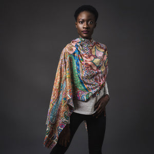 Digital Print Scarf-Orange/Green/Blue