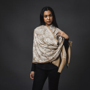 Embroidered Shawl Cashmere-Beige/White