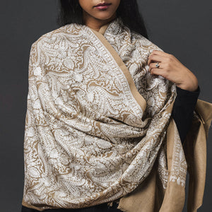 Embroidered Shawl Cashmere/Beige/White