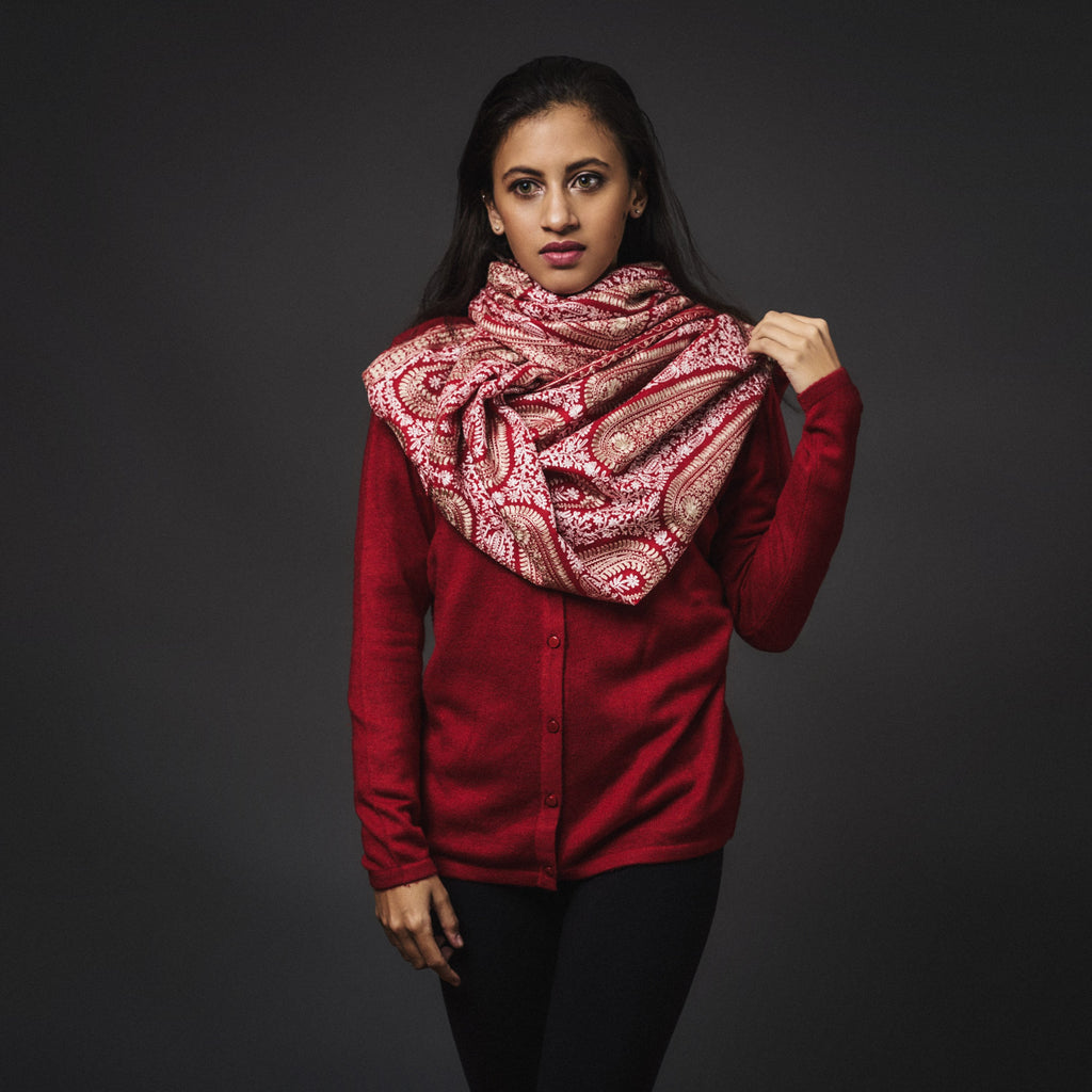 Embroidered Shawl Cashmere-Red/White