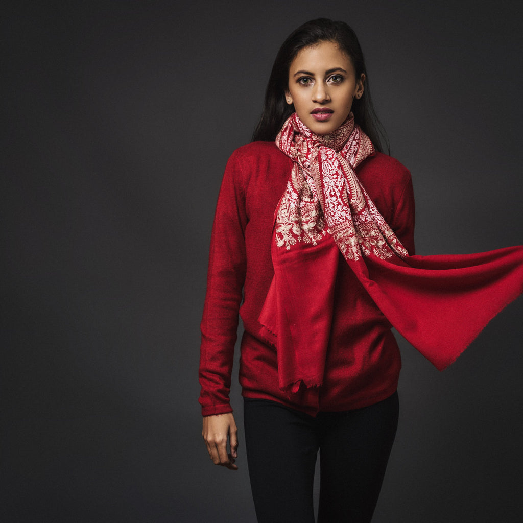 Embroidered Shawl Cashmere- Red/White
