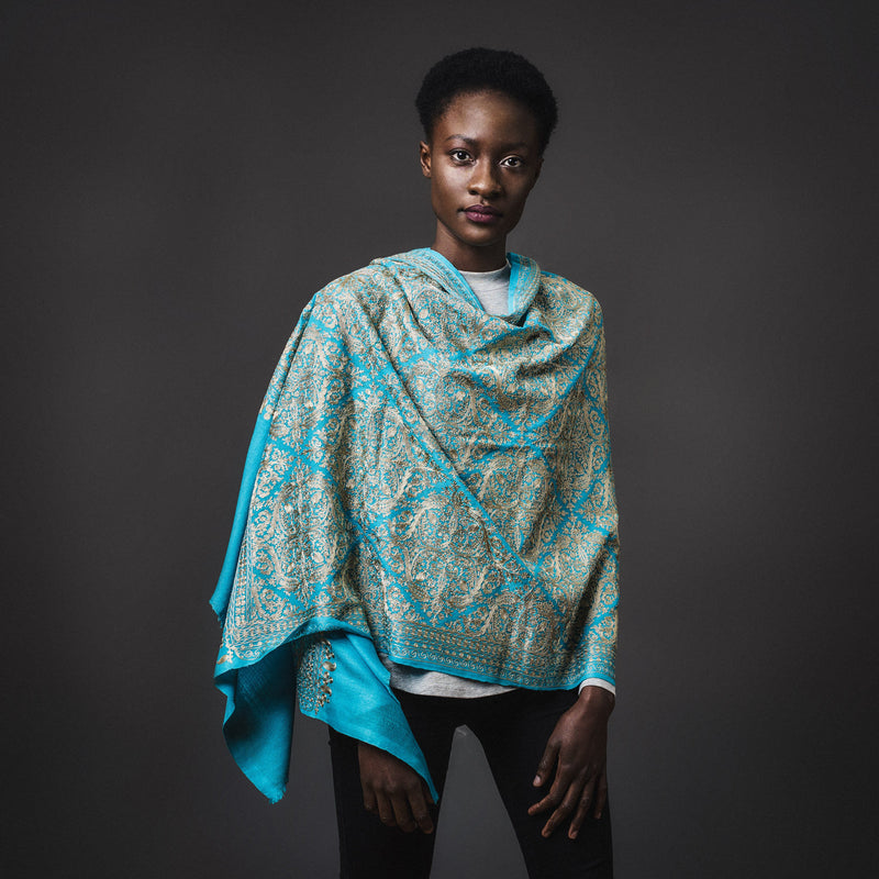 Embroidered Shawl Cashmere- Turquoise
