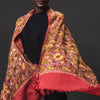 Embroidered Shawl - Deep Orange