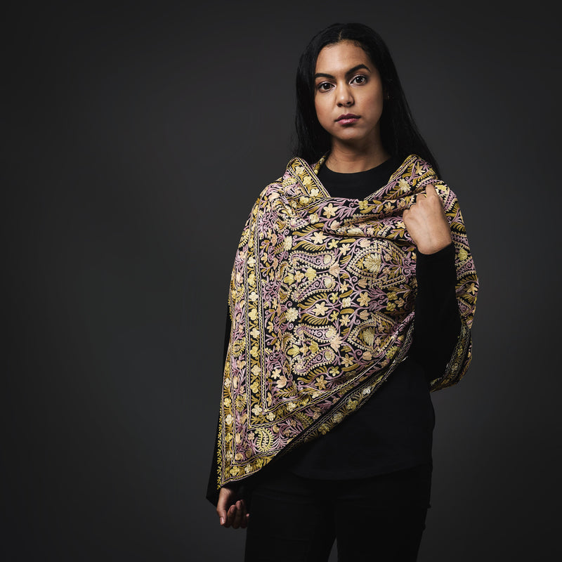 Embroidered Shawl- Gold/Black/Lilac