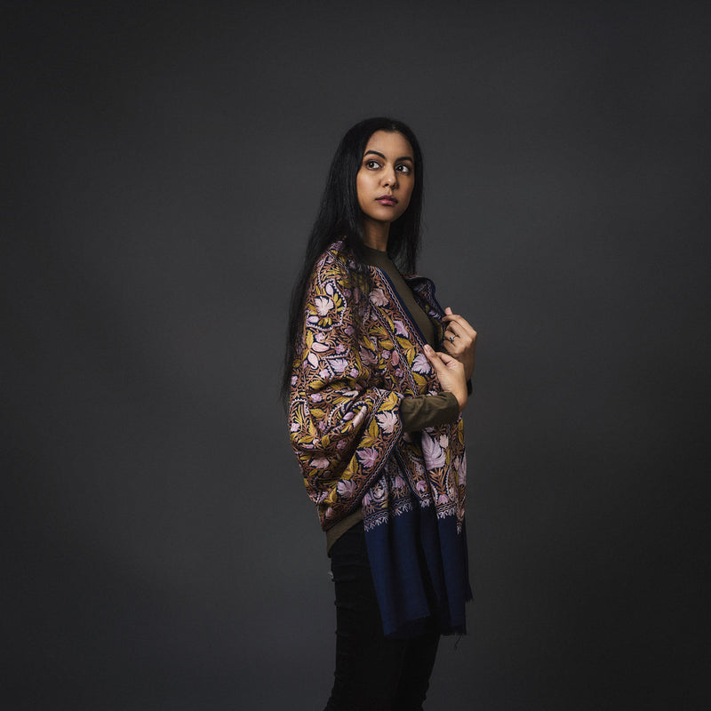 Embroidered Shawl - Indigo/Bronze