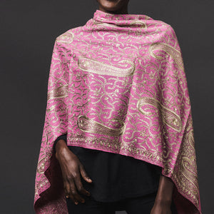 Embroidered Shawl - Pink/Bronze