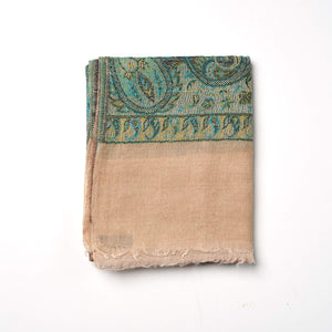 Cashmere Scarf Patterned - Jade/Fawn