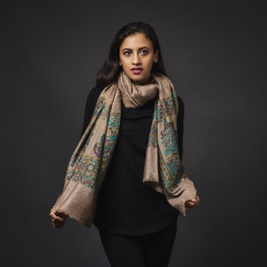 Fine Cashmere Shawl Patterend - Brown