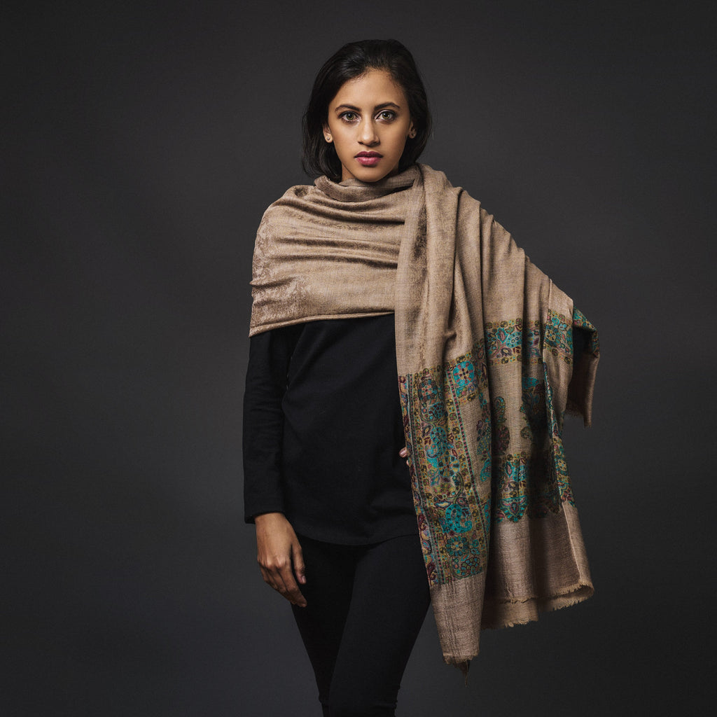 Fine Cashmere Shawl Patterned - Brown