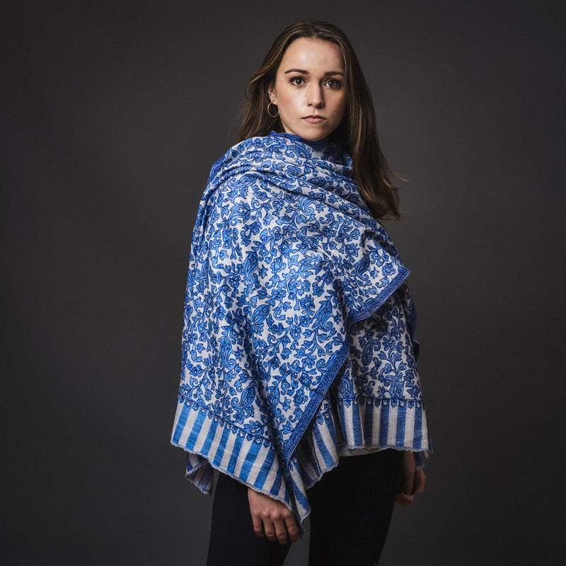 Fine Cashmere Shawl Patterned - Azure