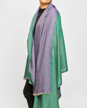 Cashmere Shawl Patterned - Jade/Purple