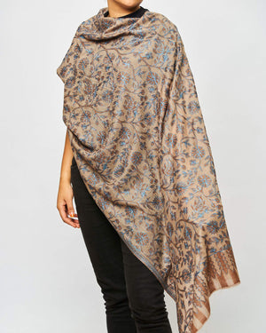 Cashmere Shawl Patterned - Light Brown Floral/Blue