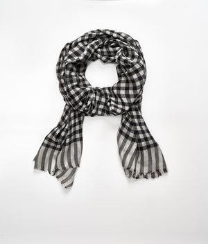 Men's cashmere scarf - Black Check