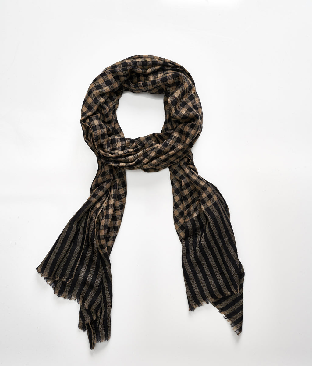 Men's cashmere scarf- Black/Tan Check