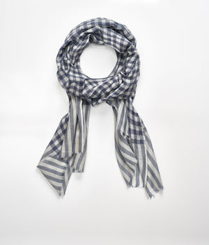 Men's cashmere scarf - Blue/Light Grey Check