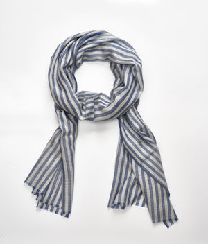 Men's Cashmere Scarf - Blue & Light Grey Stripe