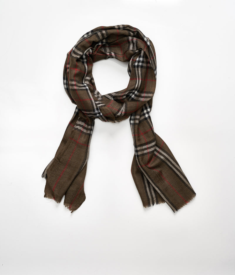 Men's cashmere scarf - Brown Check