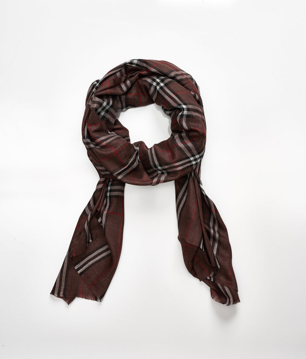Men's cashmere scarf - Dark Brown Check