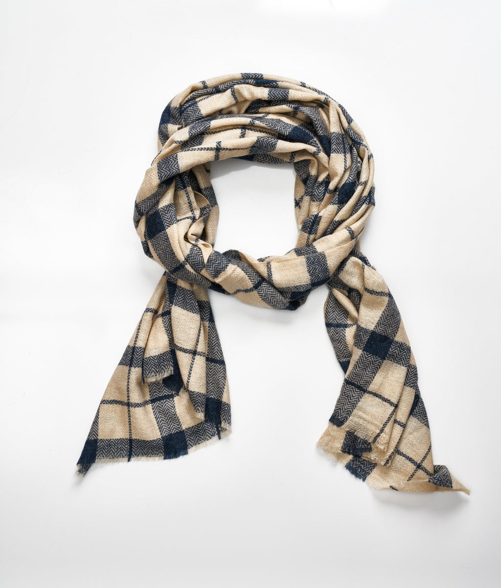 Men's cashmere scarf- Dark Cream/Grey