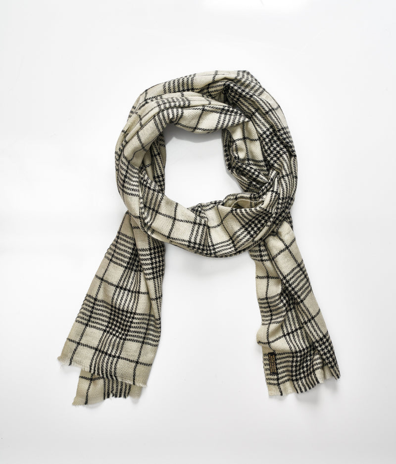 Men's cashmere scarf - Dark Cream/Black Check